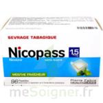 NICOPASS 1,5 mg SANS SUCRE MENTHE FRAICHEUR, pastille édulcorée à l'aspartam et à l'acésulfame potassique à Vélines