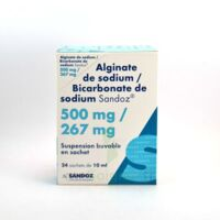 ALGINATE DE SODIUM/BICARBONATE DE SODIUM SANDOZ 500 mg/267 mg, suspension buvable en sachet à Vélines