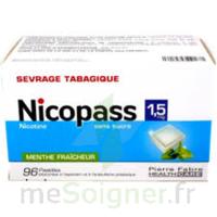 NICOPASS 1,5 mg Past sans sucre menthe fraîcheur Plq/96 à Vélines