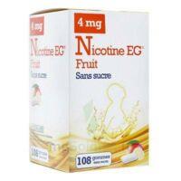 NICOTINE EG FRUIT 4 mg SANS SUCRE, gomme à mâcher médicamenteuse édulcorée à l'acésulfame potassique et à la saccharine à Vélines